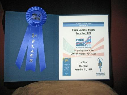 1st Place Award certificate and blue ribbon