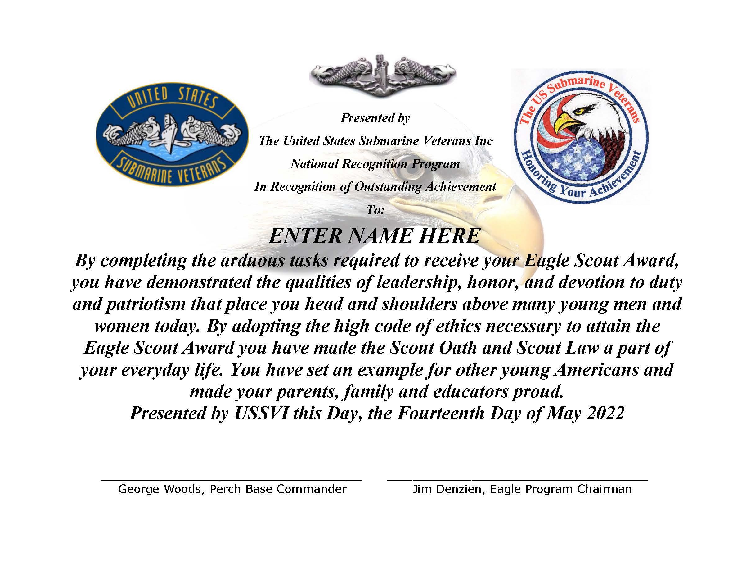 perch base ussvi eagle scout program