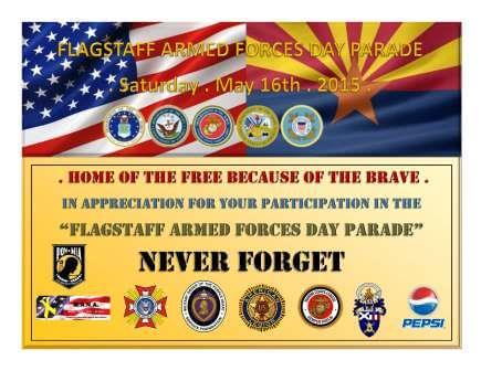 2015 Armed Forces Day Parade in Flagstaff Certificate of Appreciation