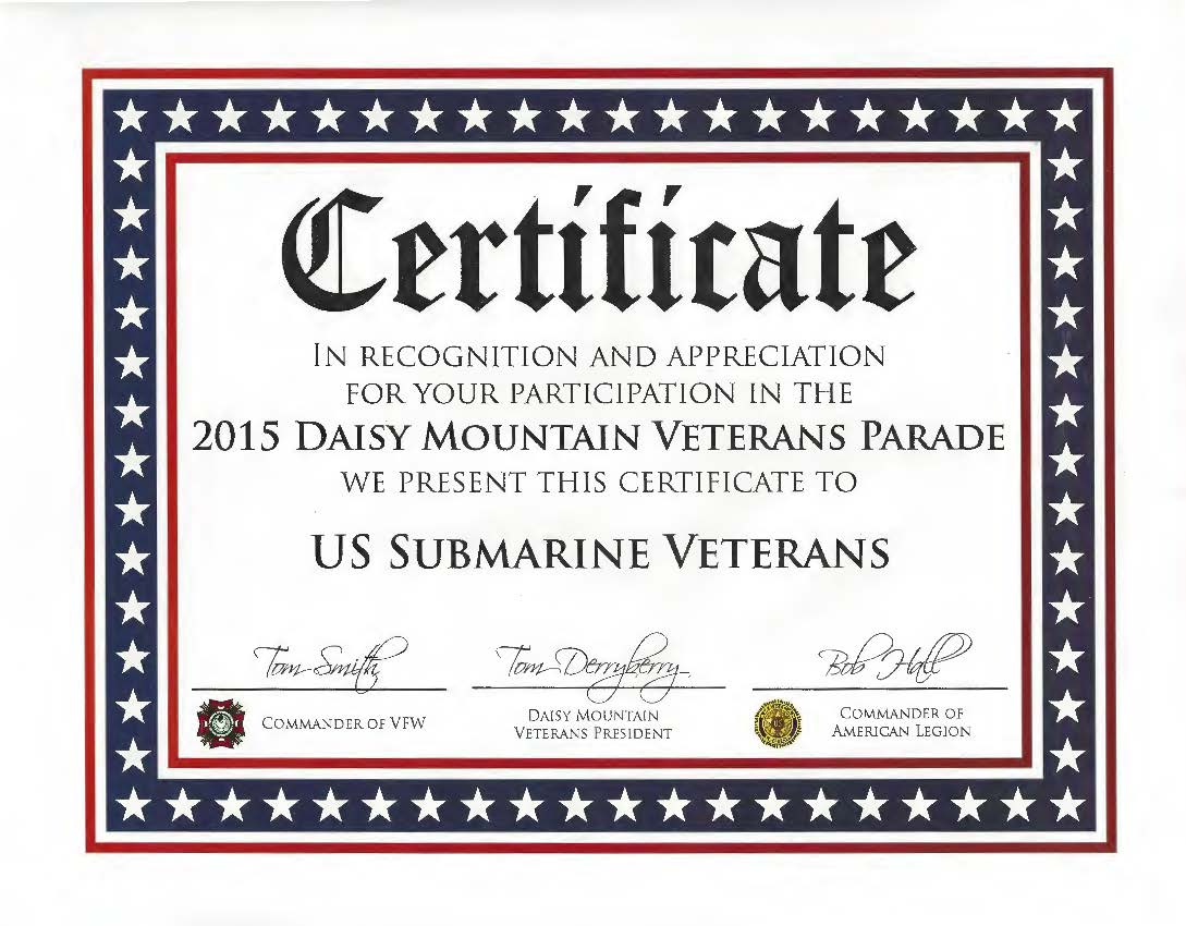 2015 daisy mountain veterans parade in anthem az certificate of appreciation