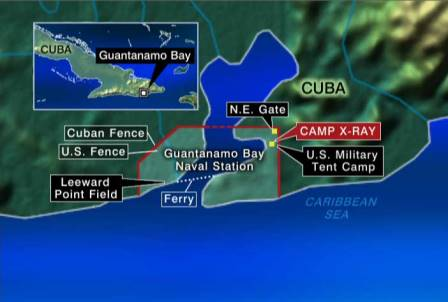 "Location of ""GITMO"" on Cuba."