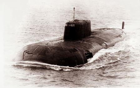 Oscar-class submarine on the surface.