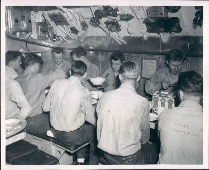 Crews Mess, ca 1950's, aboard a diesel boat in Pearl Harbor.