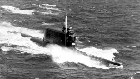 A Soviet Golf-class submarine on the surface.