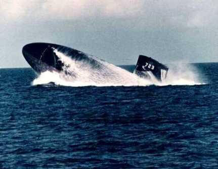 USS Oklahoma City SSN-723 conducts an emergency blow