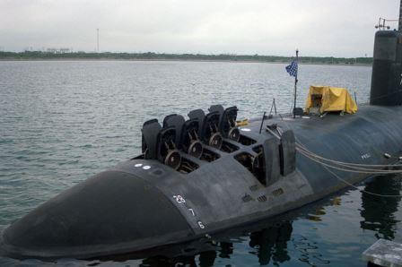 Vertical launch tube doors are shown open in this 688i-class submarine